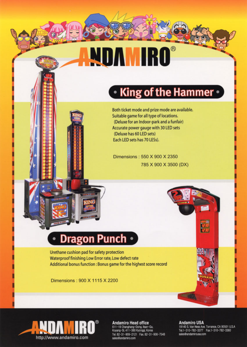 ... Game Flyers: King of the Hammer / Dragon Punch, Andamiro Co., Ltd