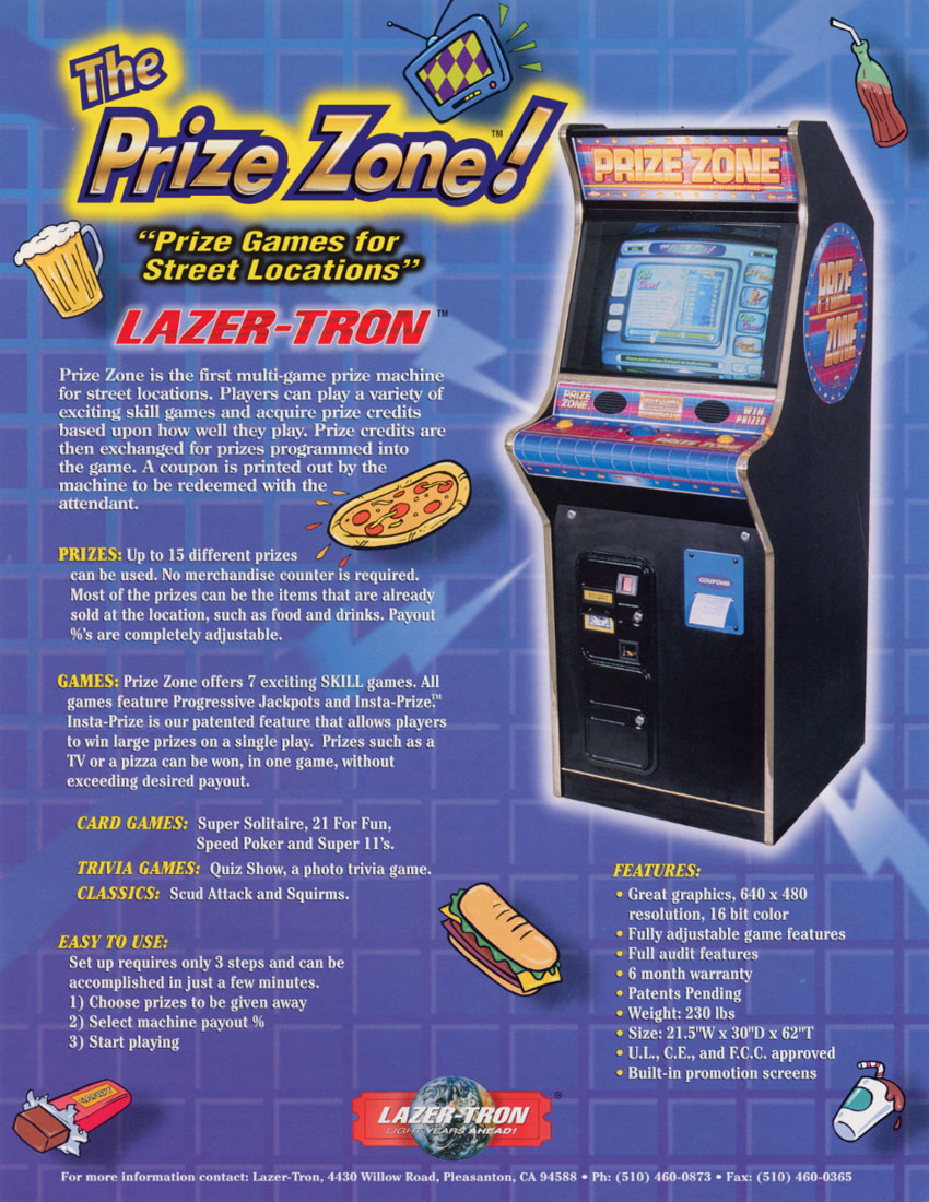 The Arcade Flyer Archive Arcade Game Flyers Prize Zone