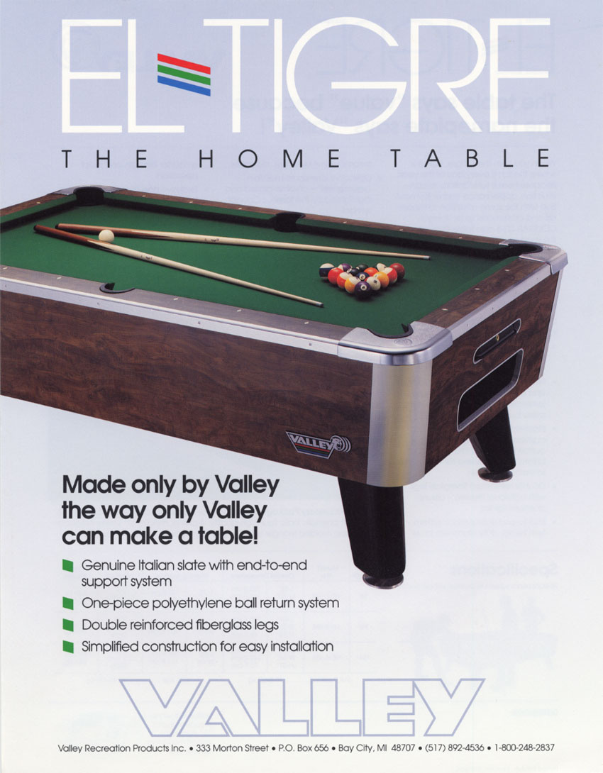 The Arcade Flyer Archive Arcade Game Flyers El Tigre Pool Table - El pool table