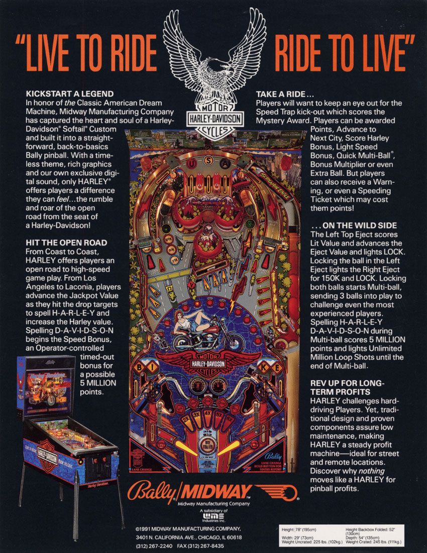 The Arcade Flyer Archive - Pinball Machine Flyers: Harley
