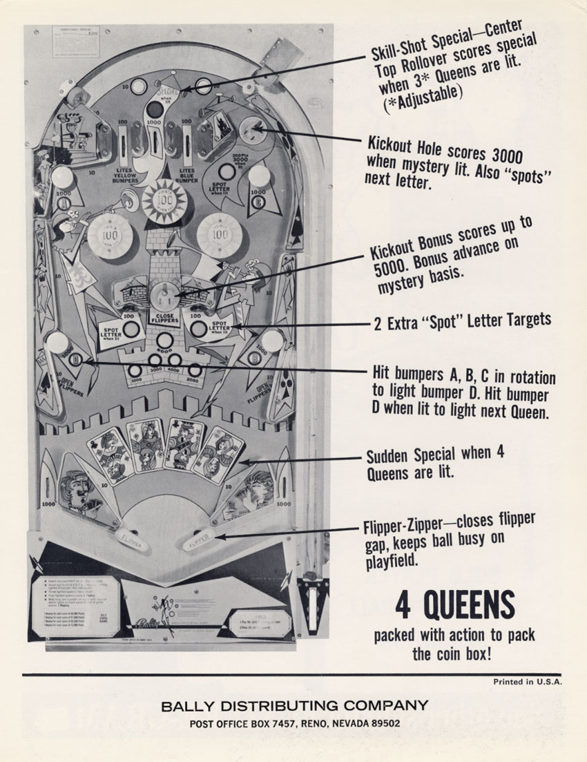 cheaper good service buy online The Arcade Flyer Archive - Pinball Machine Flyers: 4 Queens ...