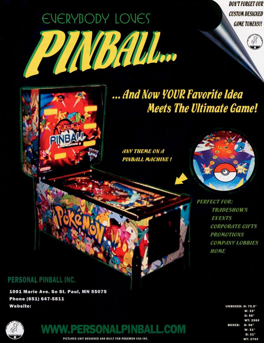 The Arcade Flyer Archive Pinball Machine Flyers Pokemon