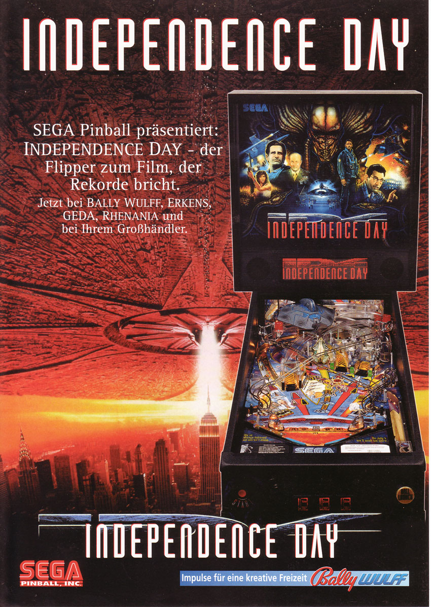 the arcade flyer archive pinball machine flyers independence day sega pinball inc
