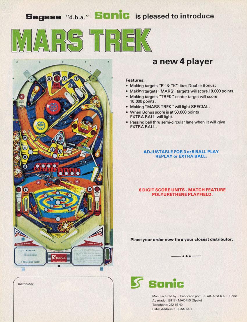 The Arcade Flyer Archive - Pinball Machine Flyers: Mars Trek