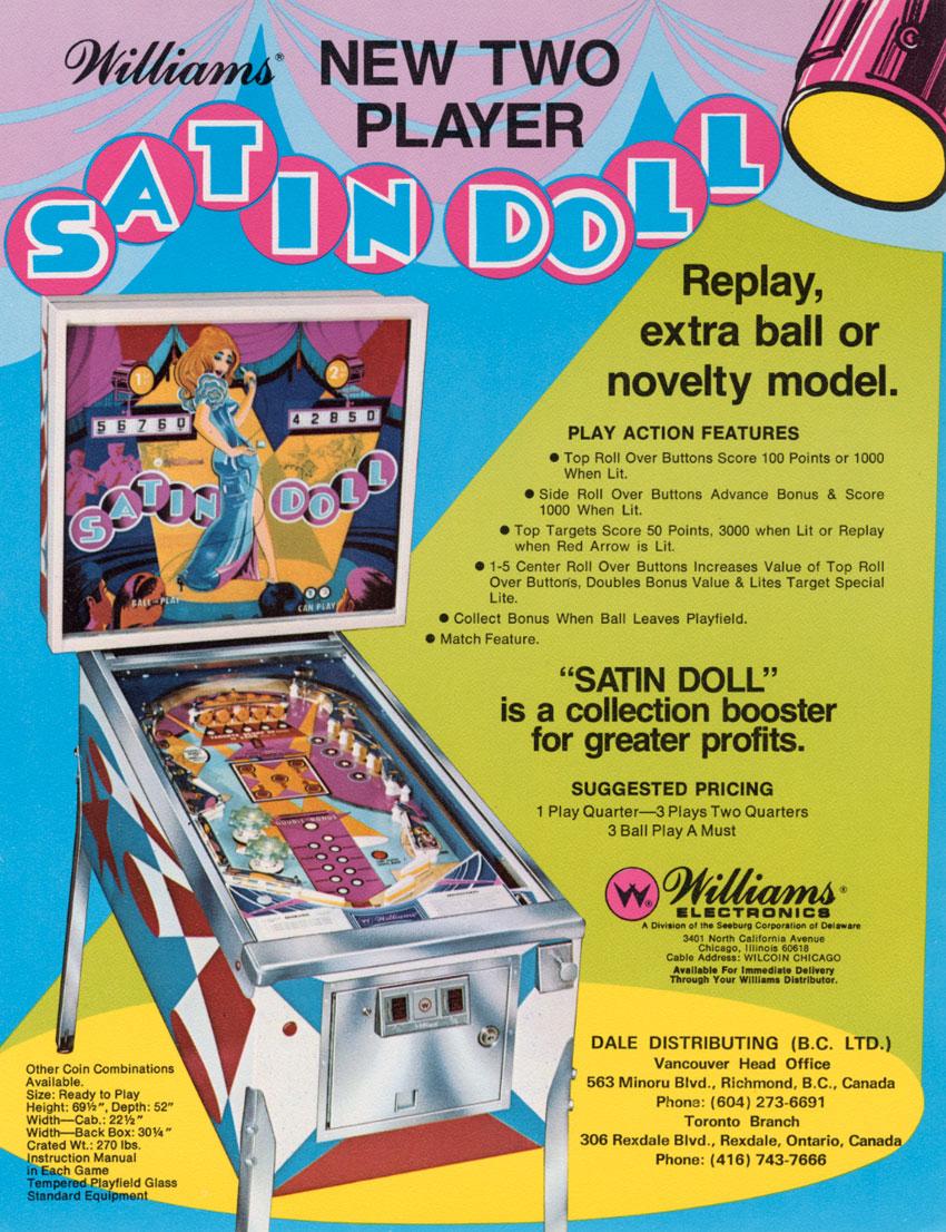satin doll pinball machine