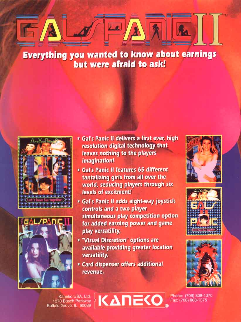 The Arcade Flyer Archive Video Game Flyers Gals Panic