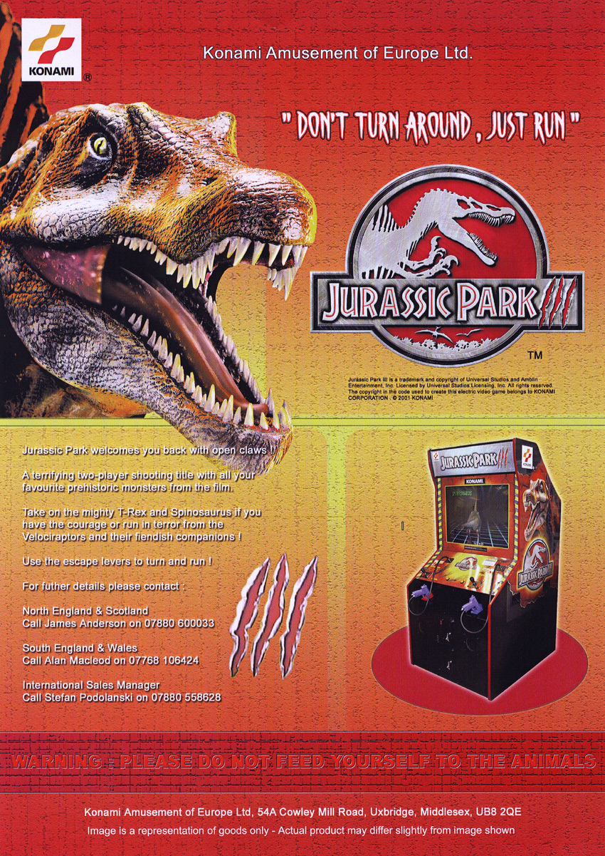 The Arcade Flyer Archive - Video Game Flyers: Jurassic Park