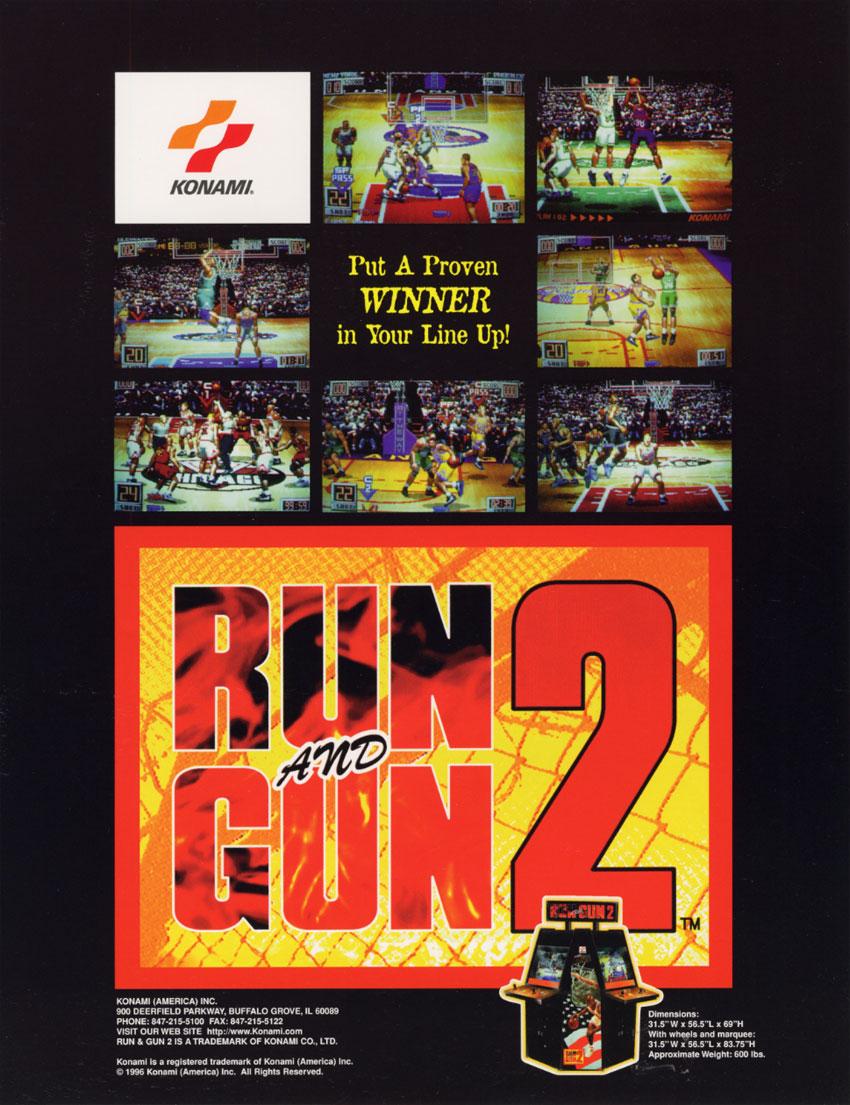 The arcade flyer archive video game flyers run and gun 2 konami