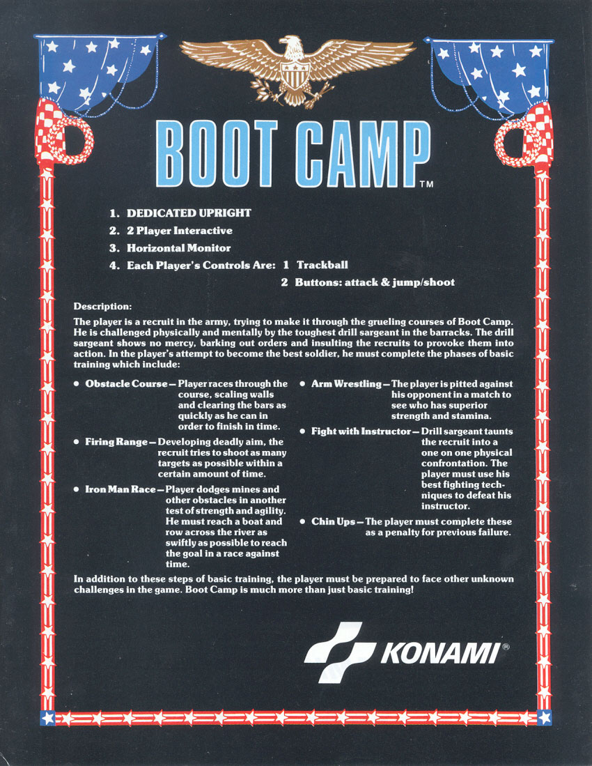 The Arcade Flyer Archive Video Game Flyers Boot Camp