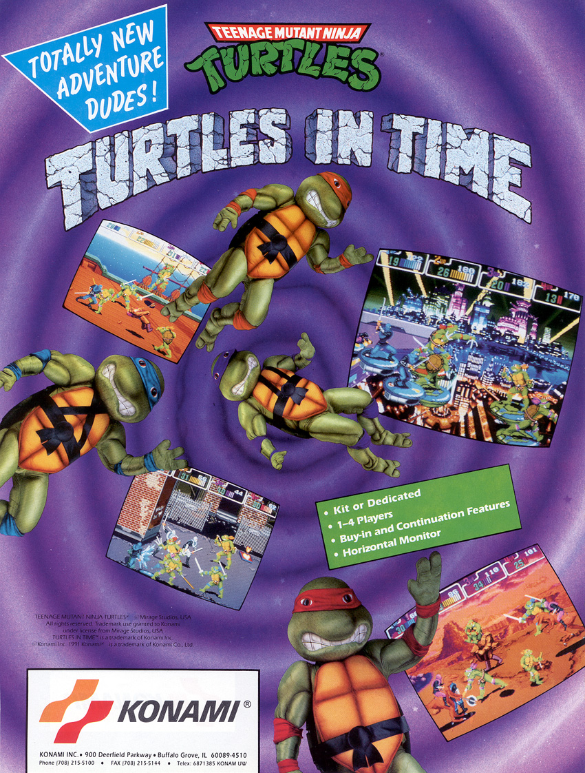 turtles in time arcade machine