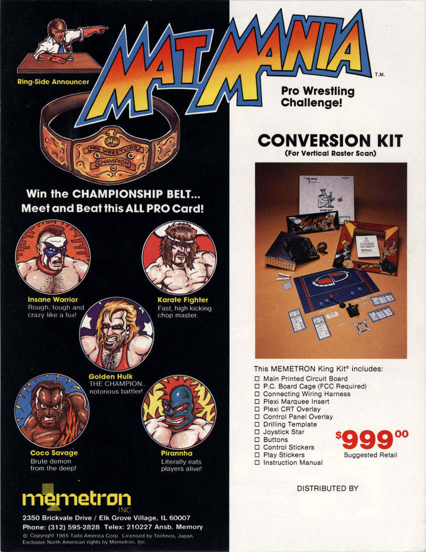 The Arcade Flyer Archive Video Game Flyers Mat Mania Memetron