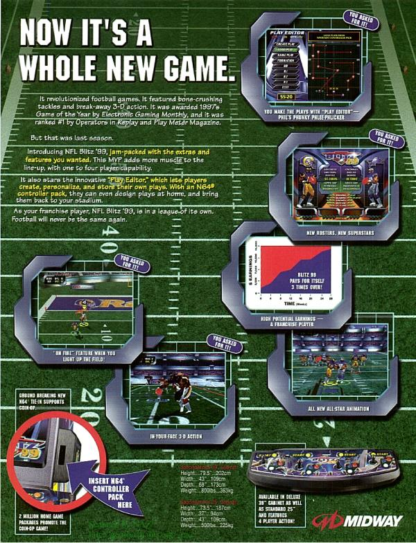 nfl blitz 99 arcade machine