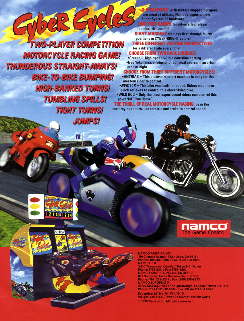 Game Of The Year >> The Arcade Flyer Archive - Video Game Flyers: Cyber Cycles, Namco / Namco Bandai Games