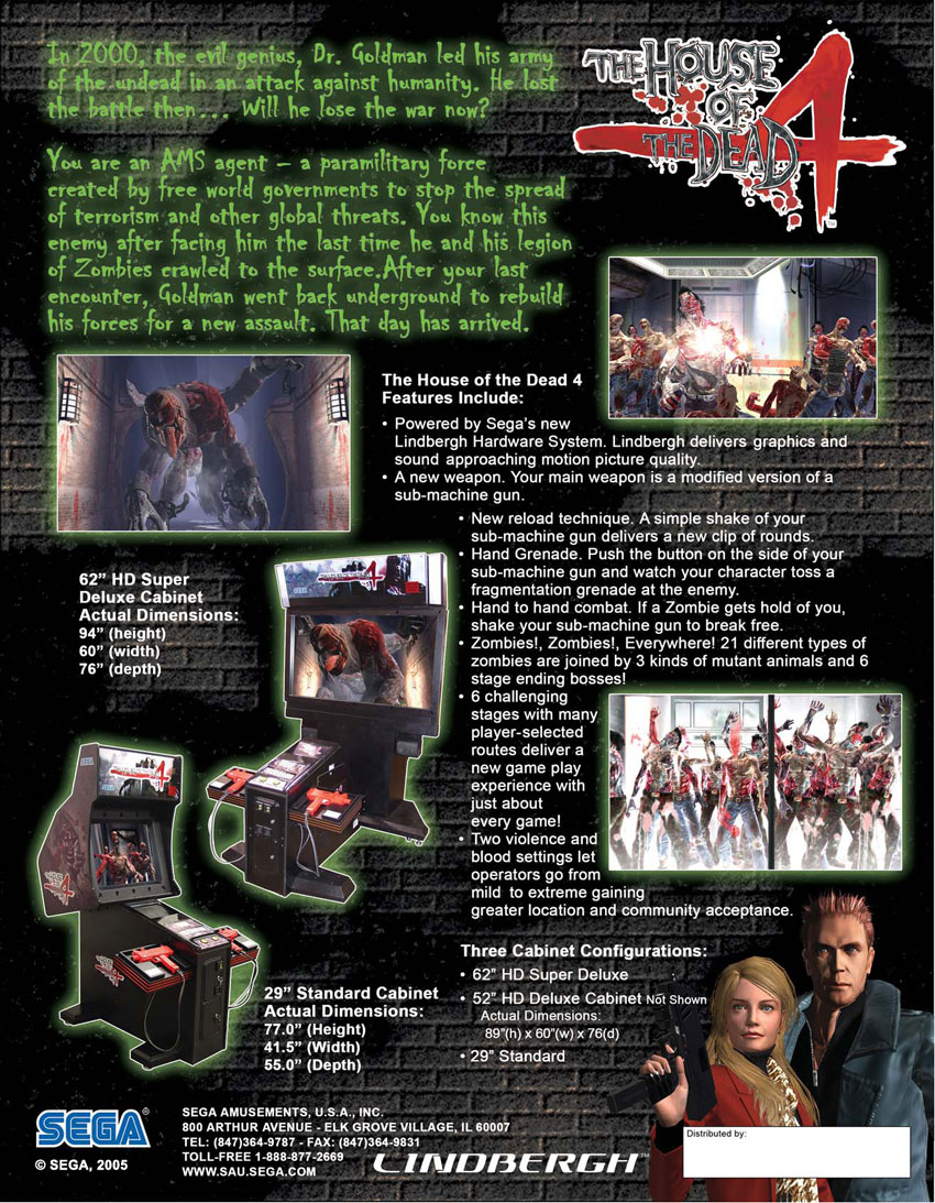The Arcade Flyer Archive Video Game Flyers House Of The Dead 4