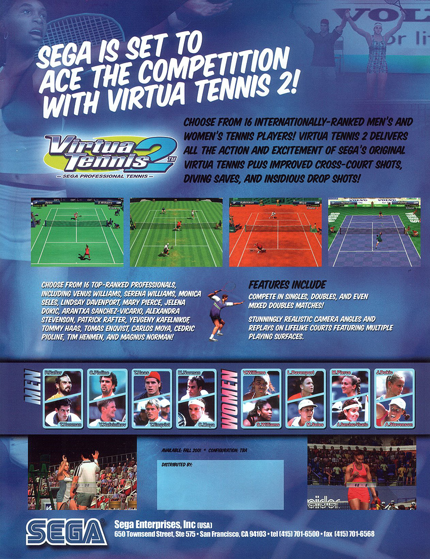 The Arcade Flyer Archive - Video Game Flyers: Virtua Tennis