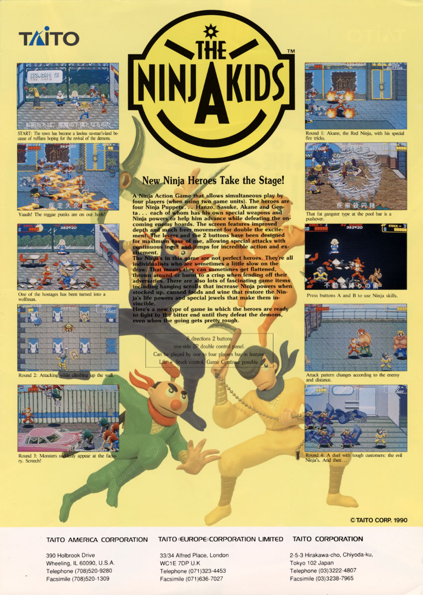 The Arcade Flyer Archive Video Game Flyers Ninja Kids Taito