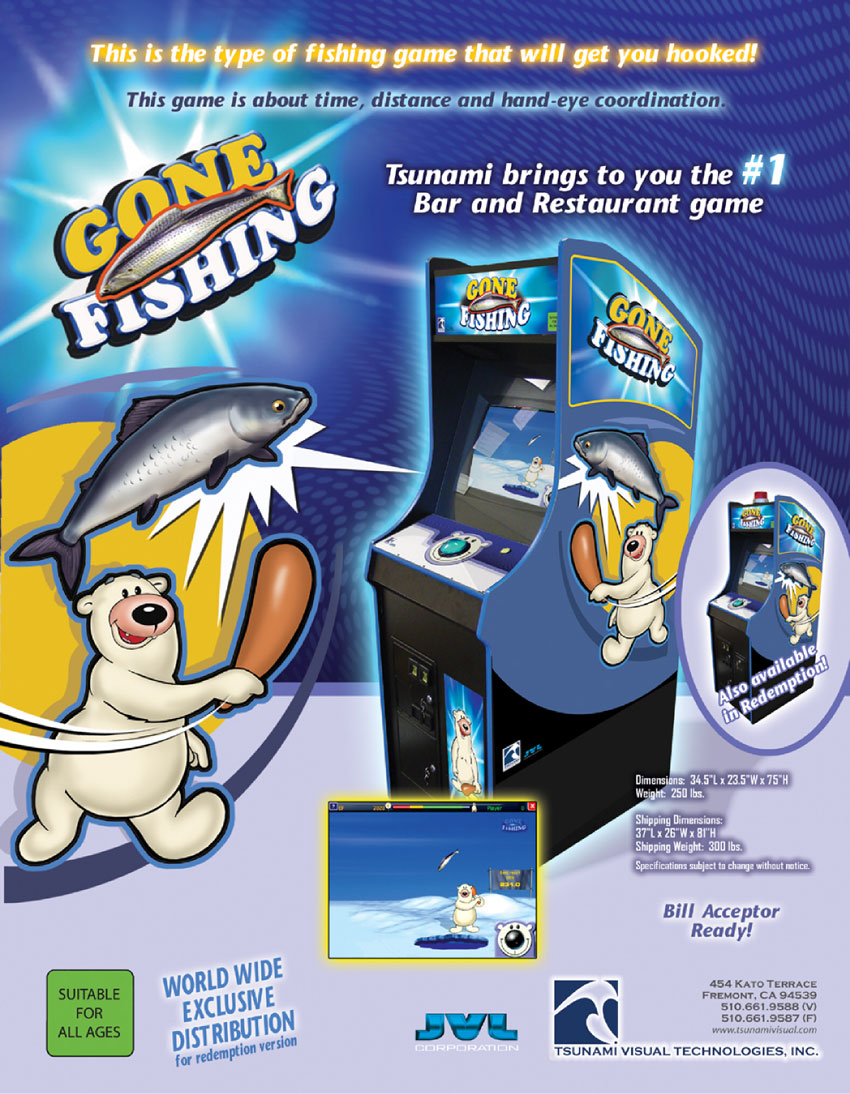 The arcade flyer archive video game flyers gone fishing for Fish arcade game