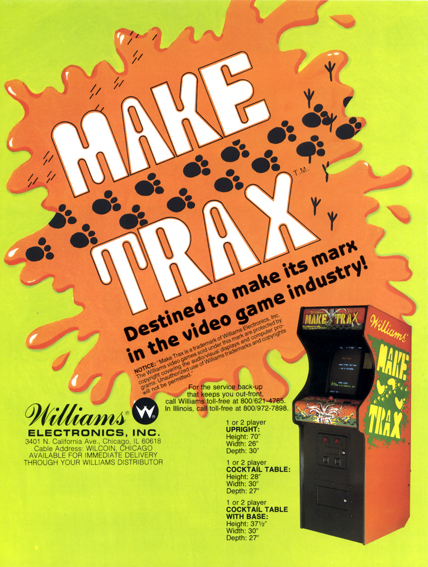 the arcade flyer archive video game flyers make trax williams make trax back