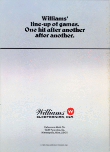 The Arcade Flyer Archive - Video Game Flyers: Williams' Line